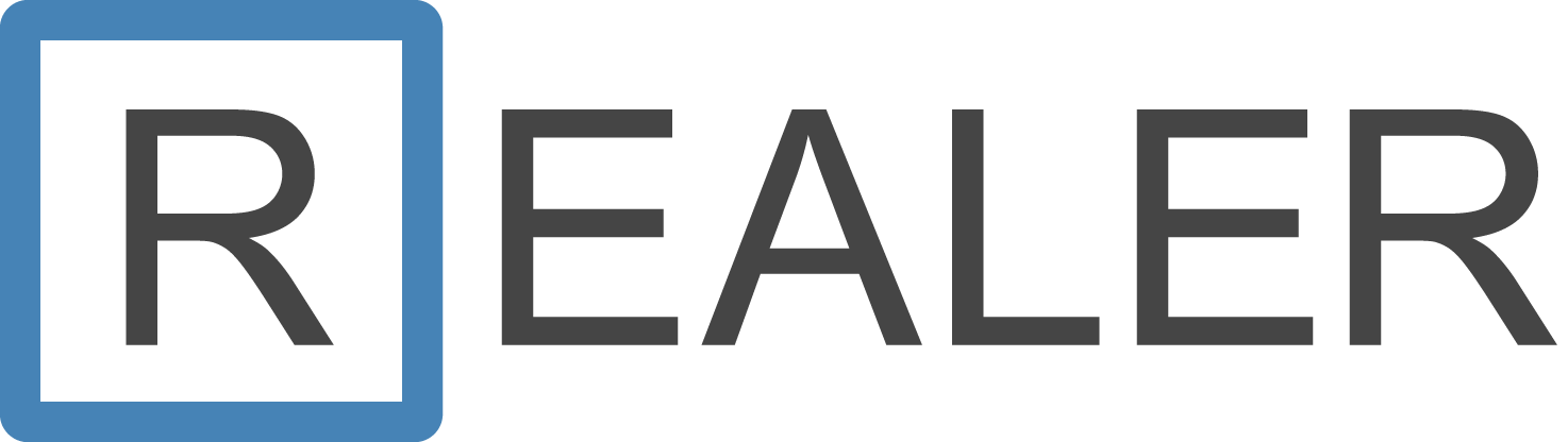 "The logo consists of the name ""REALER"" in uppercase, gray in color. The initial letter ""R"" is placed inside a square beveled blue."